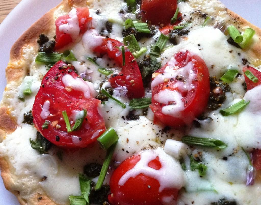 Pita pizza close-up