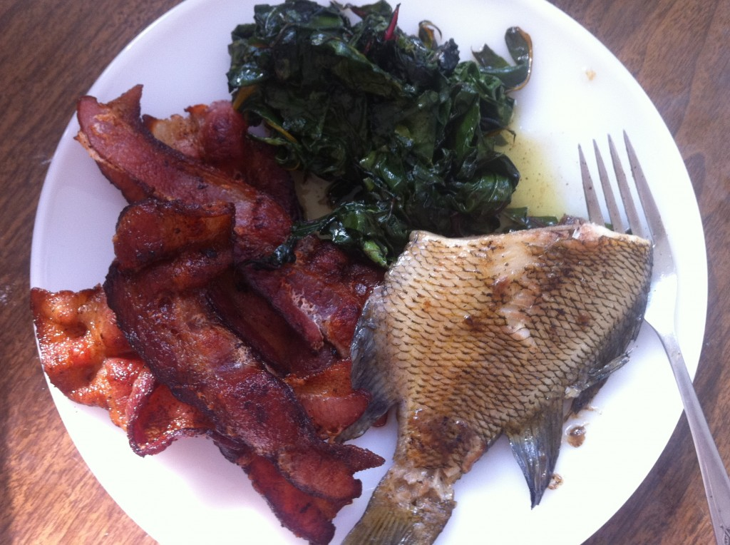 breakfast: bacon, fish and swiss chard