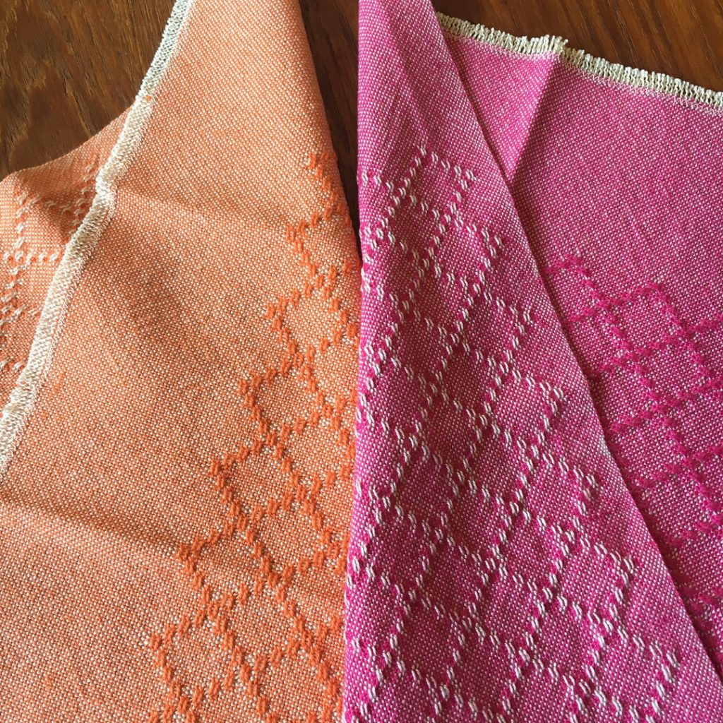 two bright and fun huck lace napkins in 8/2 cotton