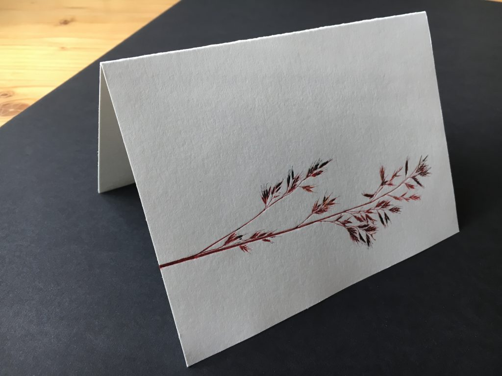 Hand-printed card with dried grasses, 2016