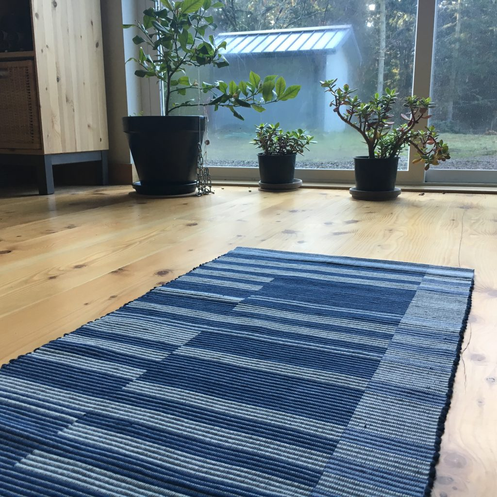 Detail of rep weave rug, original design, 100% cotton, woven on four shafts