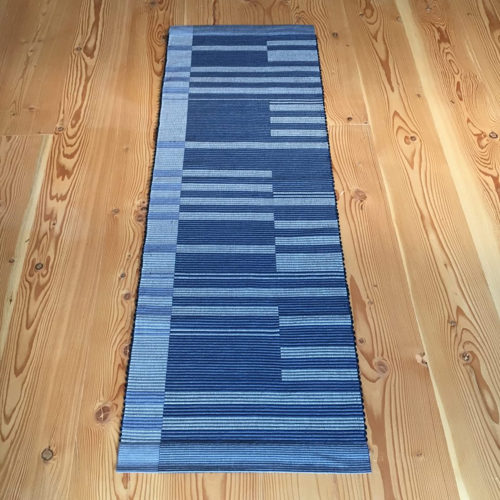 Rep weave runner, original design, woven on four shafts with 8/4 cotton rug warp