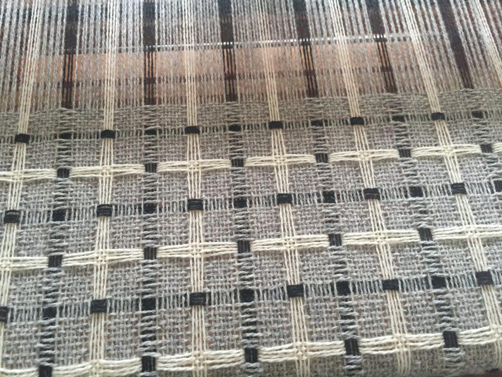 Deflected doubleweave shawl on 8 shafts, in progress