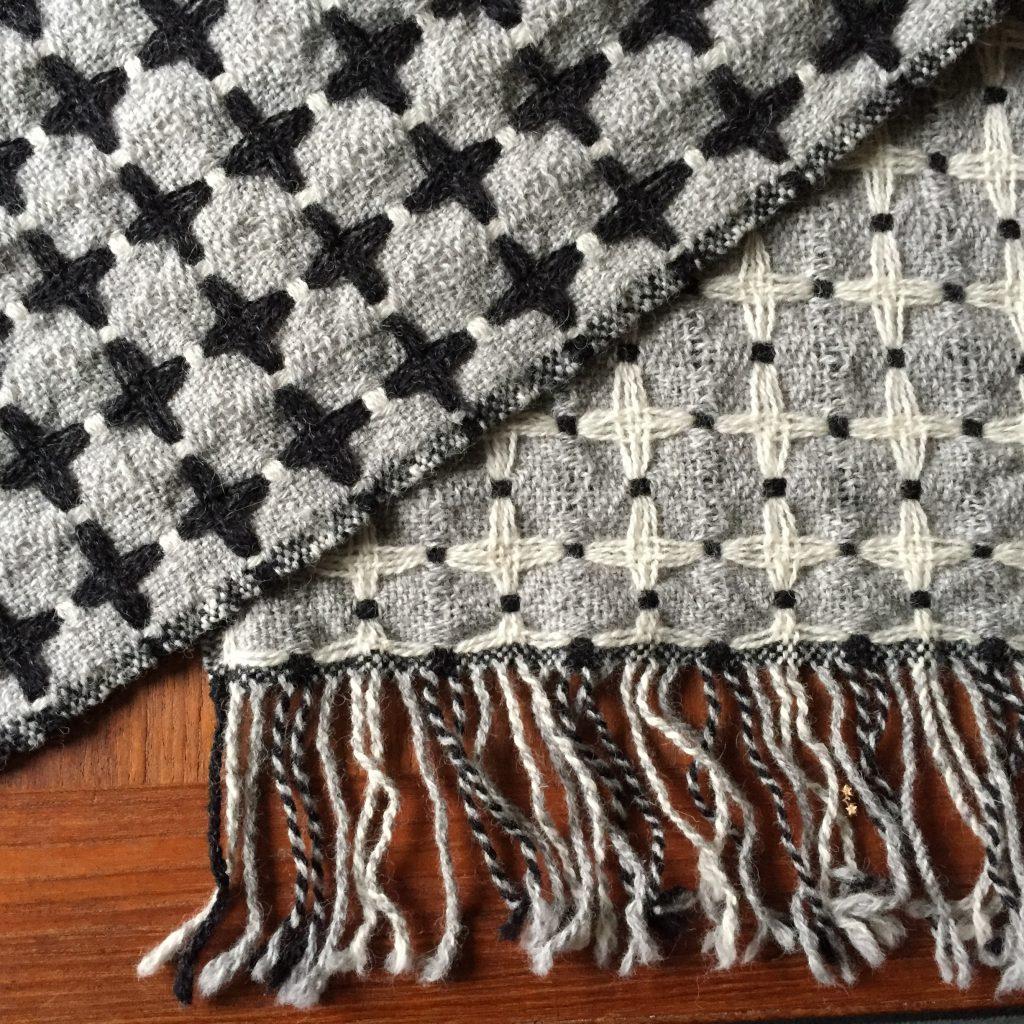 100% wool deflected doubleweave shawl