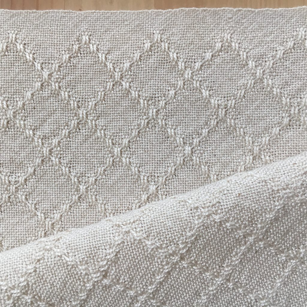 Huck lace napkins in white 8/2 cotton