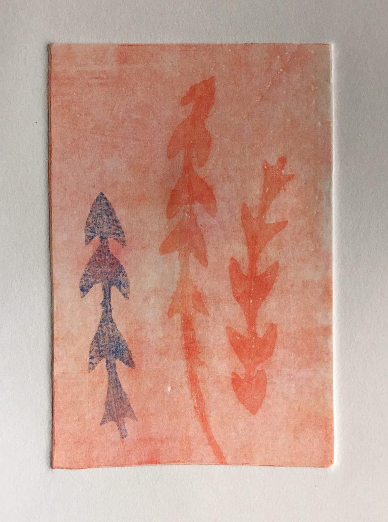 Monoprint with dandelion leaves, 2015