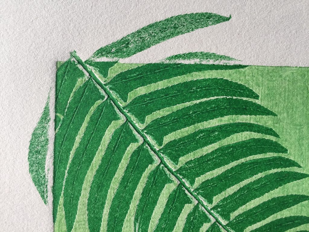 Detail of monoprint with ferns, 2015
