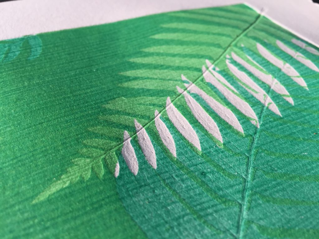 Detail of monoprint with layered ferns, 2015