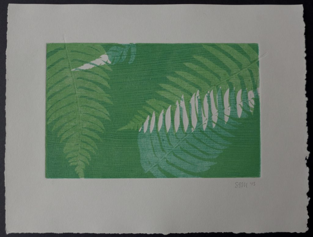 Monoprint with ferns on textured plate, 2015