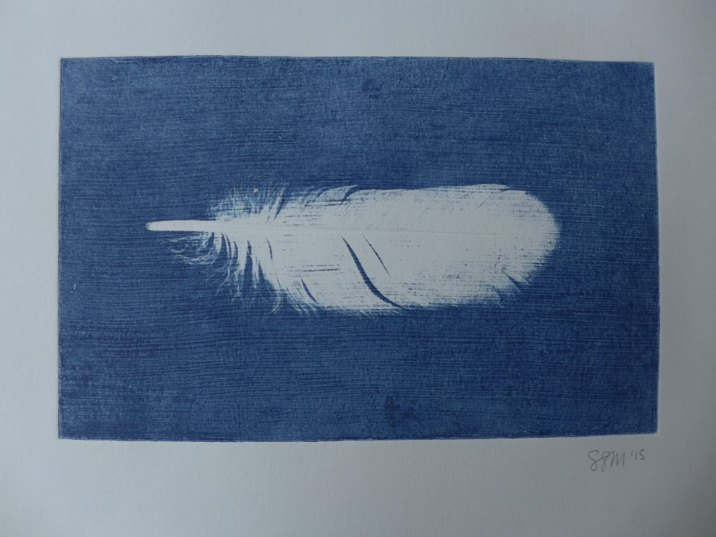 Monoprint with feather and textured plate, 2015
