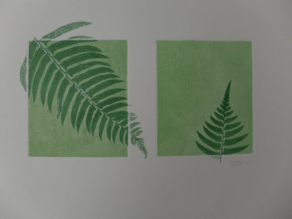 Monoprint with ferns and textured plates, 2015