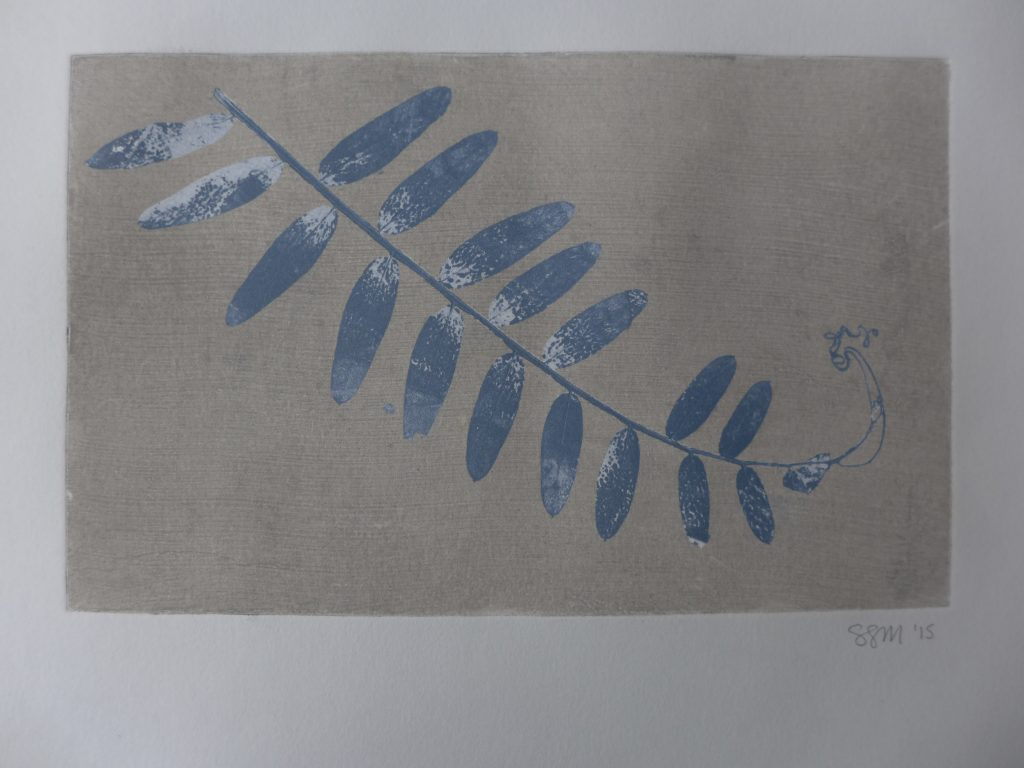 Monoprint with pressed and dried wild pea leaves, 2015