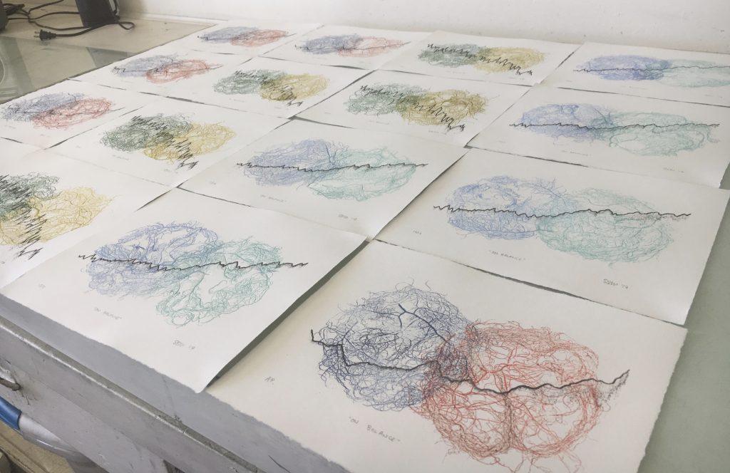 """On Balance,"" variable edition, monoprint and lithography, 2017"