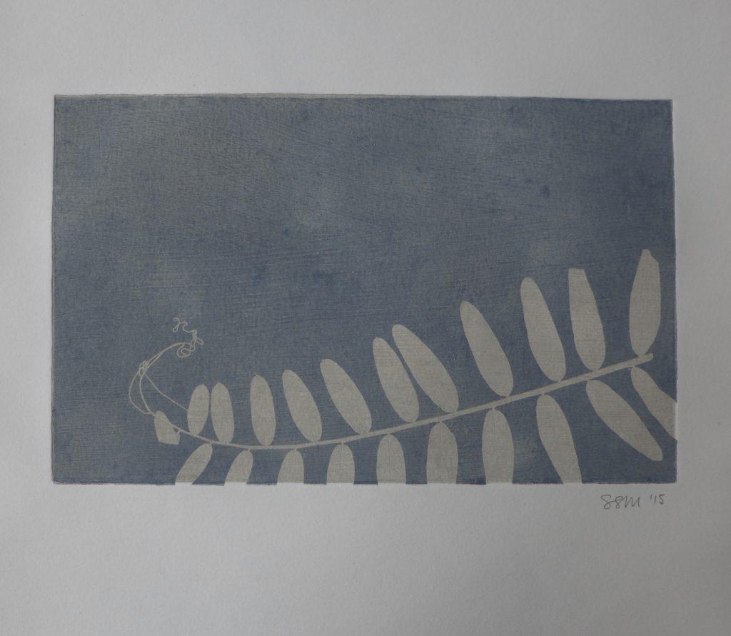 Monoprint with wild pea leaves, 2015