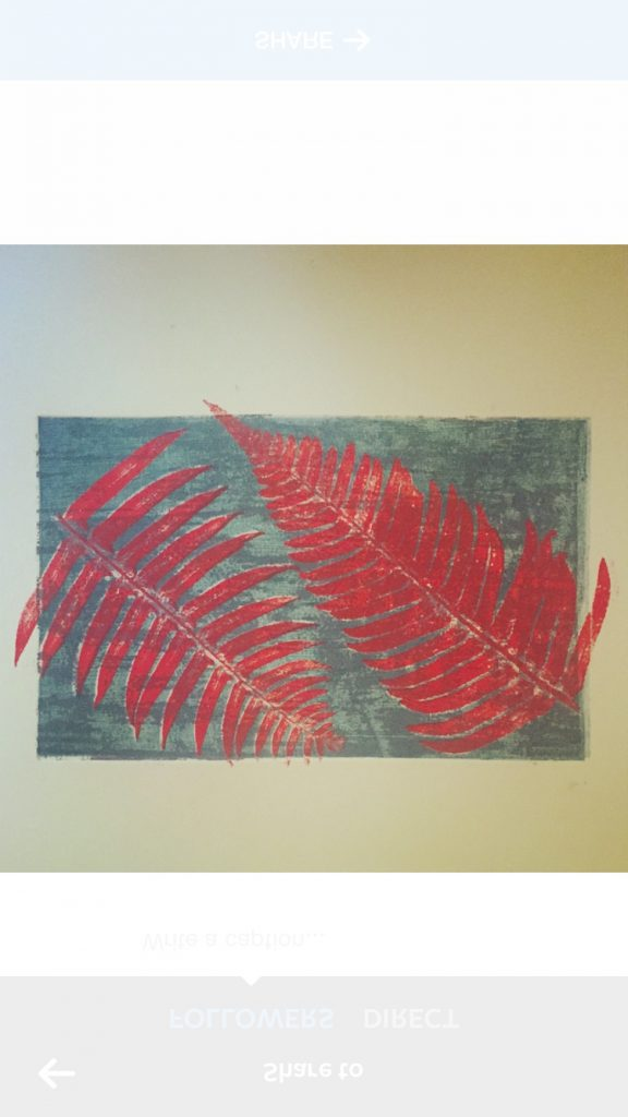 Monoprint with ferns and textured plate, 2015